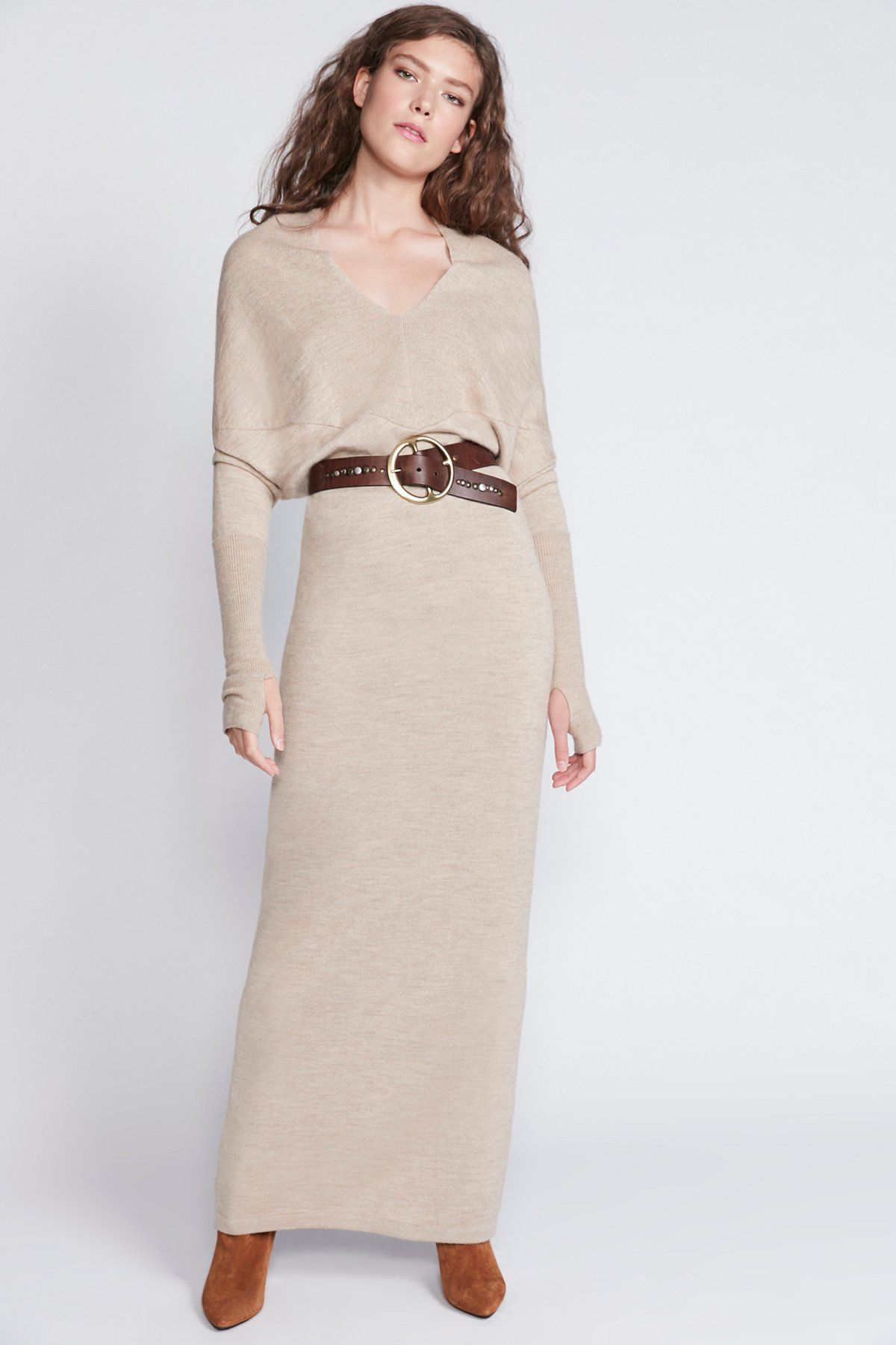 aadeacc5c6 Reversible Long Sweater Dress | Maxi sweater dress featured in a luxe  silk-alpaca blend. * Versatile neckline, can be worn as a V-neck or slouchy  ...