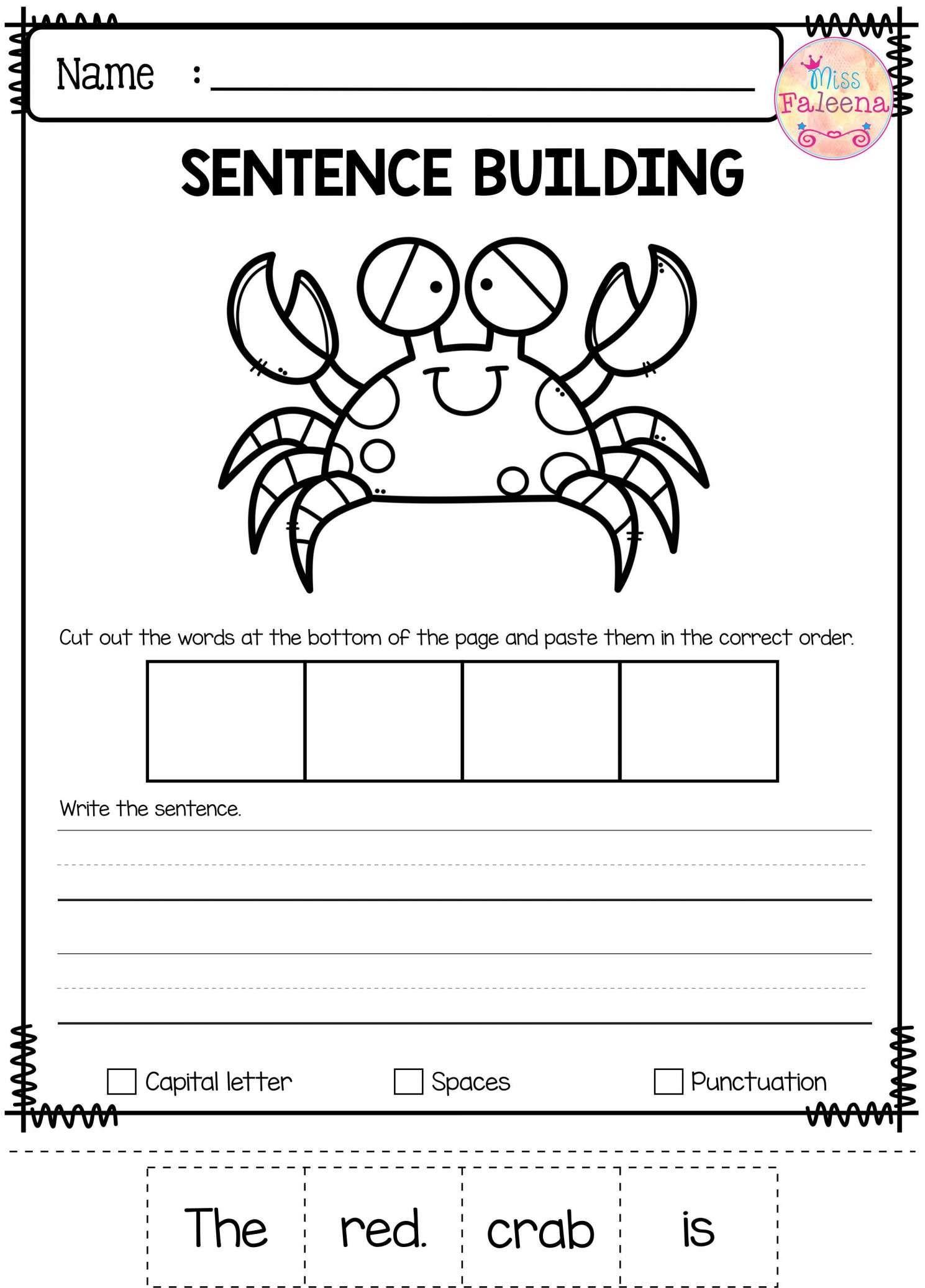 8 Write Sentence Worksheet For Kindergarten