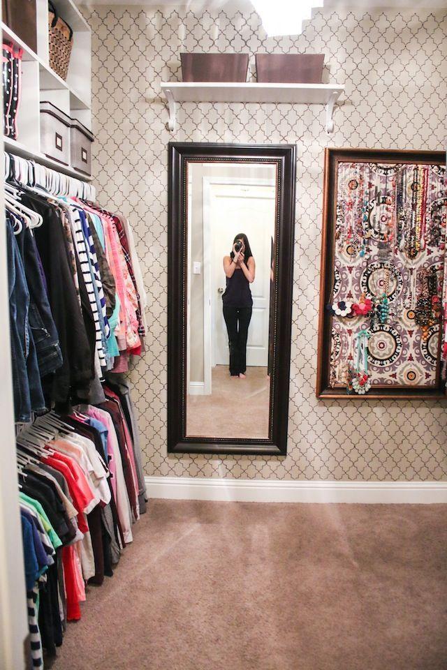 closet organization ideas stenciled closet with diy jewelry board