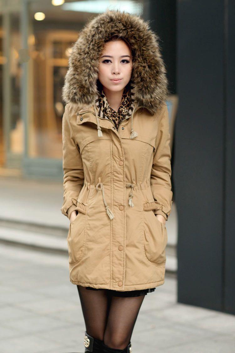 b3026cb93203d Ochre Womens Winter Coats Faux Fur Lining Parka With Fur Hood on Luulla