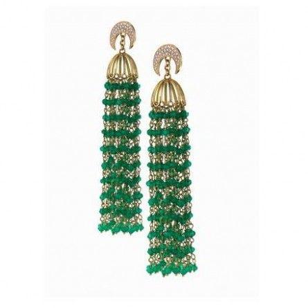 Azza Fahmy: Tassel Crescent Diamond Earrings