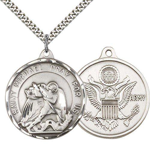 .925 Sterling Silver Saint St Michael EMT Medal Pendant Chain Catholic Necklace