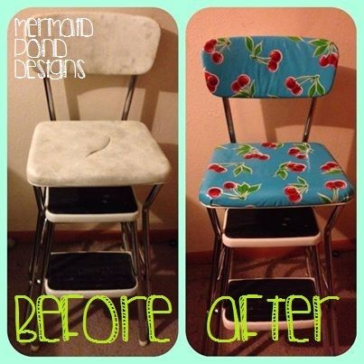 Admirable Diy How To Recover A Step Stool This Is Brilliant I Machost Co Dining Chair Design Ideas Machostcouk