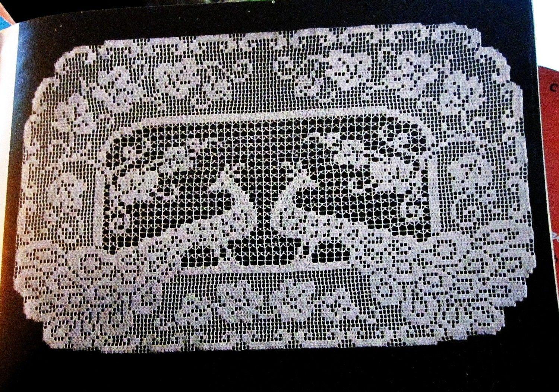 Crochet Pattern Filet Crochet Peacock Buffet Scarf Vintage 1950s Doily
