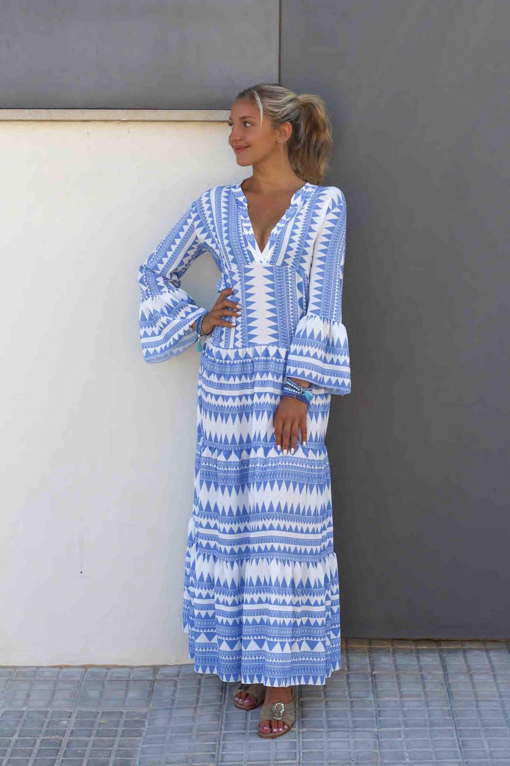 13 blau weißes kleid | kleid blau weiß, lange kleider