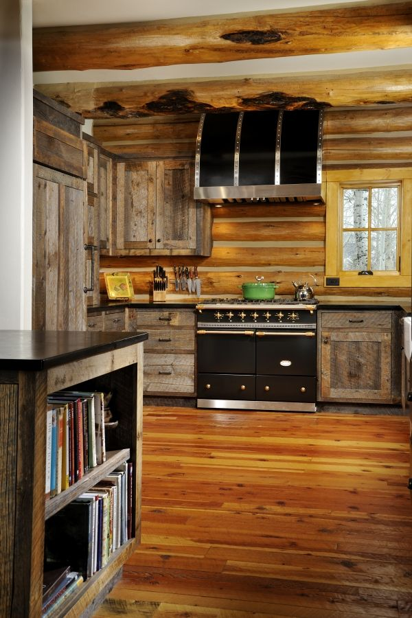 barn wood ideas | Log home kitchens, Cabin kitchens, House ...