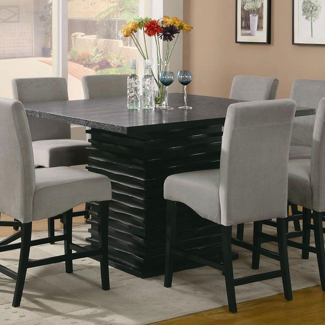 Redefine Your Casual Dining Room With This Modern Counter Height Dining Table It Featur Square Dining Room Table Dining Table Black Dining Room Furniture Sets