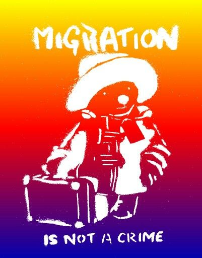 This is a message from Banksy. A message that the artist has made. Migration is not a crime.