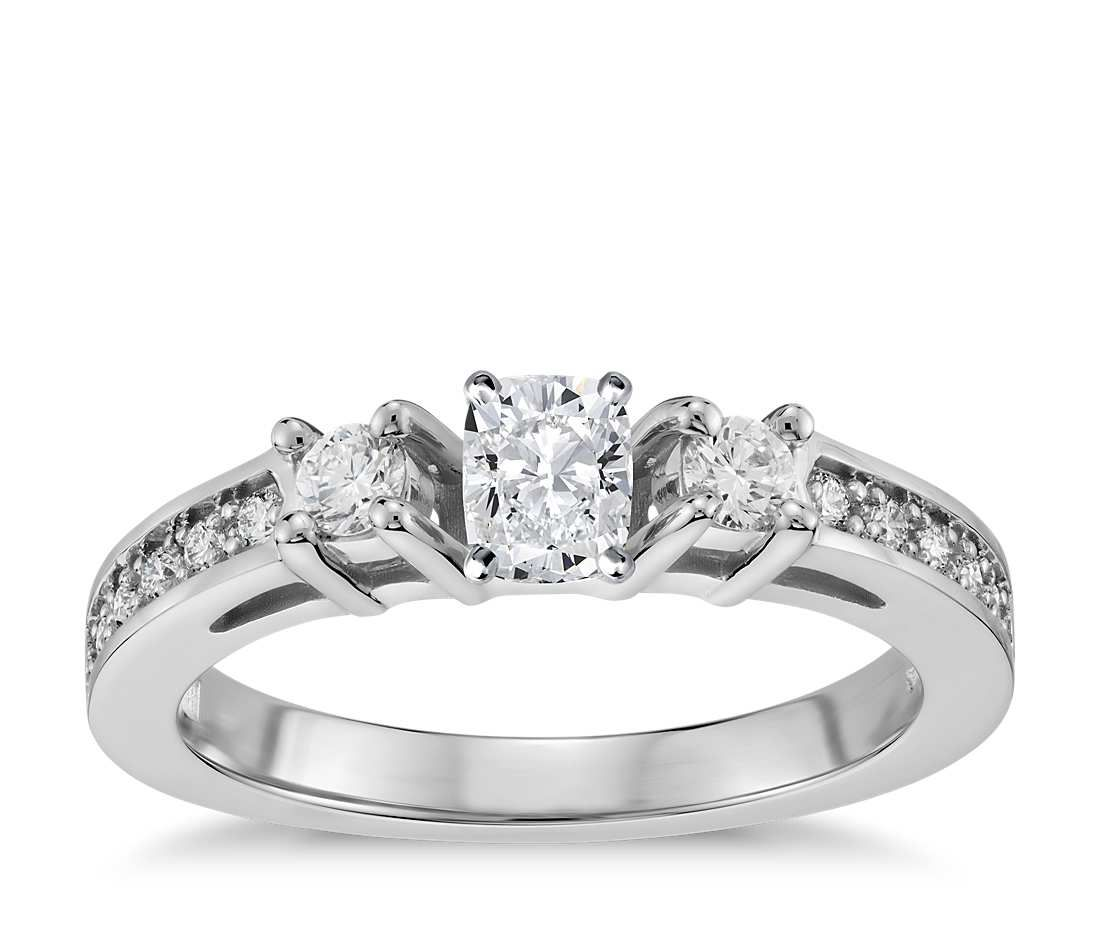 Cushion Cut Trio Pavé Diamond Engagement Ring 14k White Gold (1/4 ct. tw.) .50 - .59 ct., Women's, Size: 3 - 9, White Gold Diamond