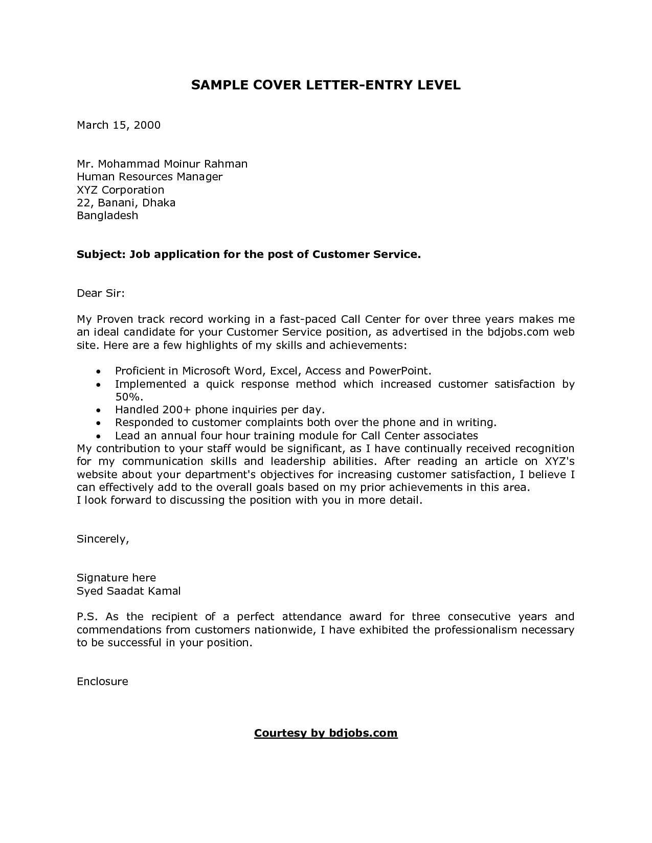 Charming Formal Cover Letter Sample For Entry Level Job Resume Writing Example Alexa