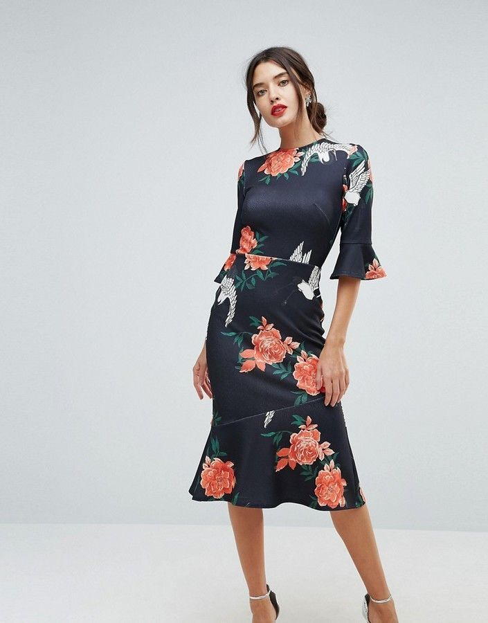 Buy Cheap Release Dates Pep Hem Midi Dress With Long Sleeves - Black rose print True Violet Discount Limited Edition Buy Cheap Really Finishline Clearance Supply 7Xky1Q33T