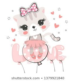 Cute cat ballerina wearing pink bow sitting on love balloon isolated on white background illustration vector.