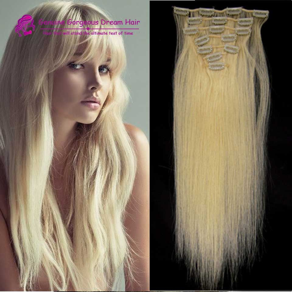 613 Lightest Blonde Clip In Hair Brazilian Remy Human Hair15 22inch