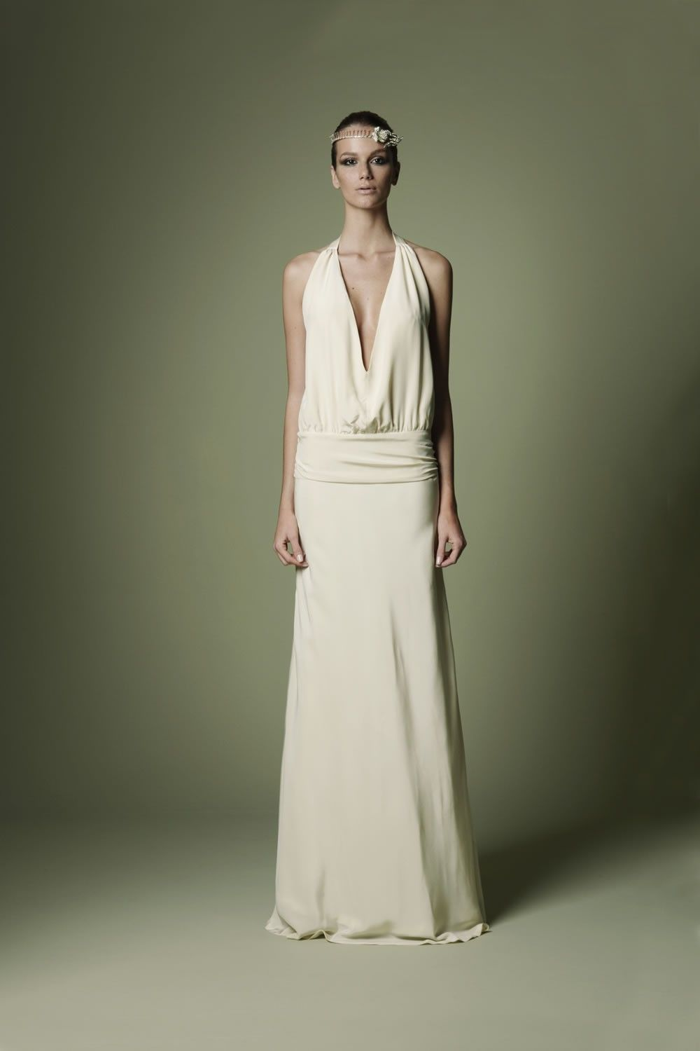1920s Style Dark Ivory Crepe de Chine Dress with panelled plunge ...