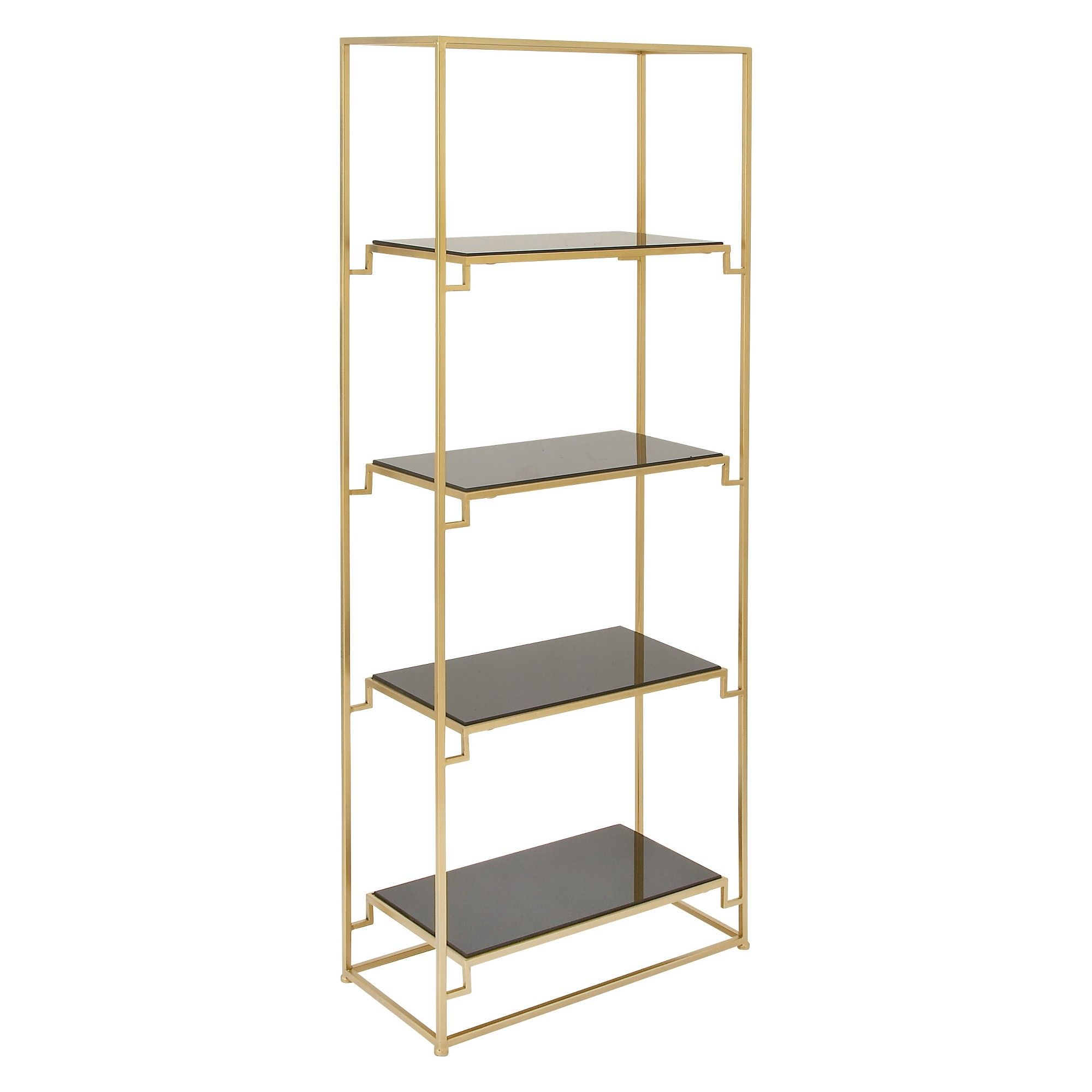 63 Metal And Glass 4 Tiered Book Shelf Gold Olivia May Etagere Bookcase Bookcase Glass Shelves In Bathroom