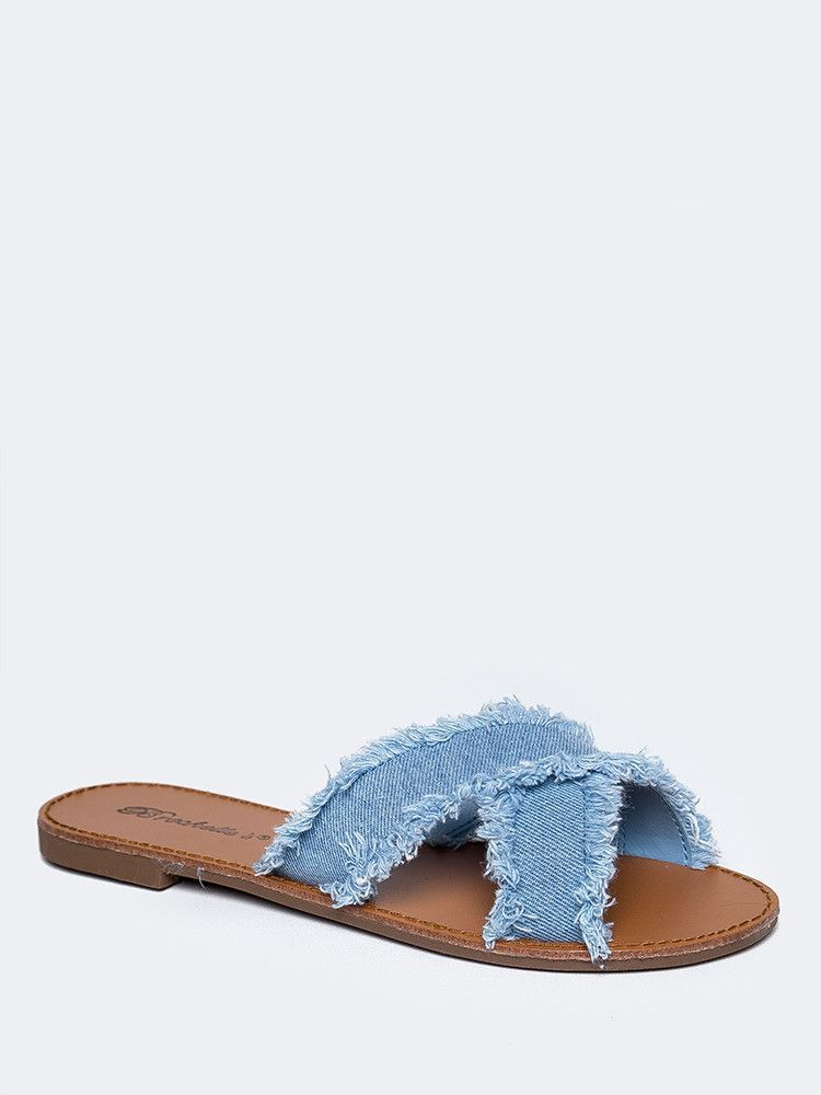 e4b7e7481da Low Heel Denim Strap Sandals | Products | Shoes, Sandals, Heels