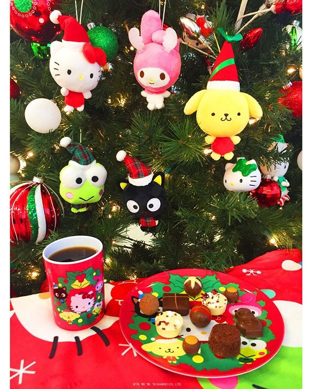 We're staying cozy here at the #SanrioHQ with these adorable Sanrio ornaments and plate + cup set. You can find this holiday collection at select #Sanrio stores!
