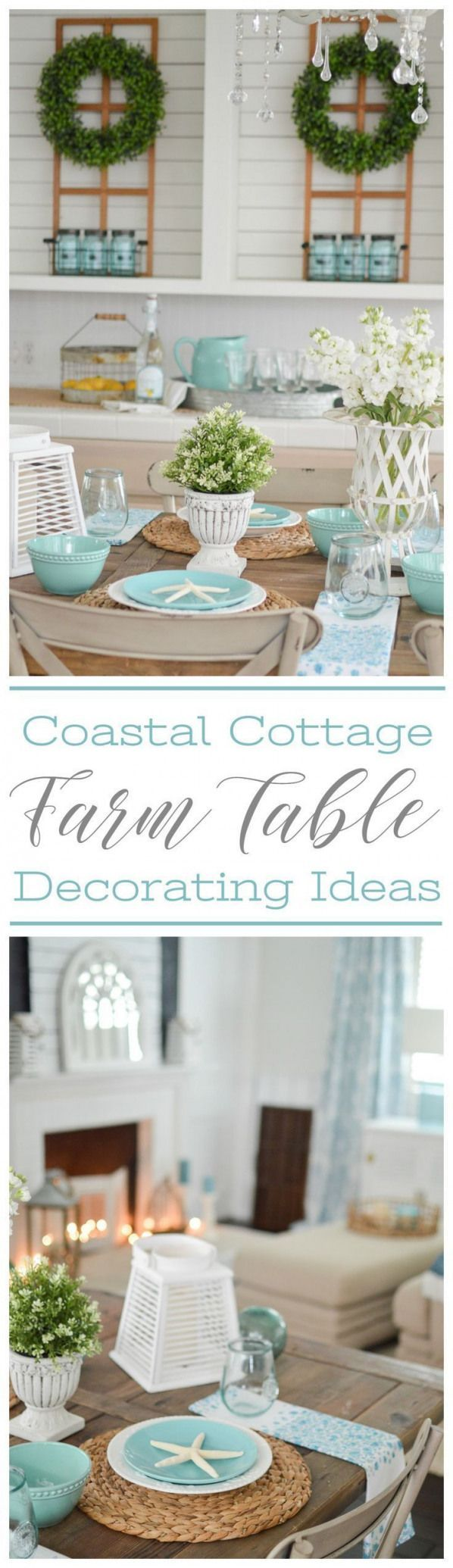 Easy  Affordable Coastal Cottage Farmhouse Style Farm Table Decorating Ideas iaffordable