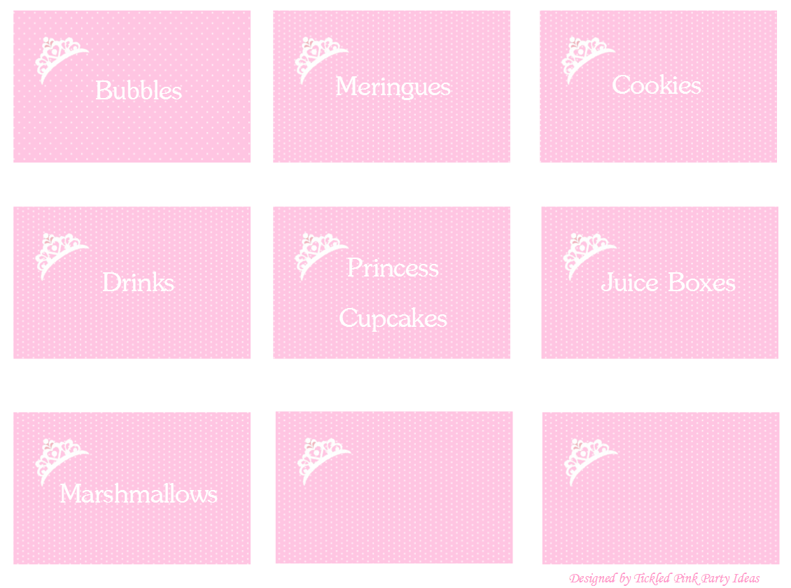 Food Labels Https Tickledpinkpartyideas Wordpress Com Free Party Printables Princess Party Free Printables Feestje Prinses