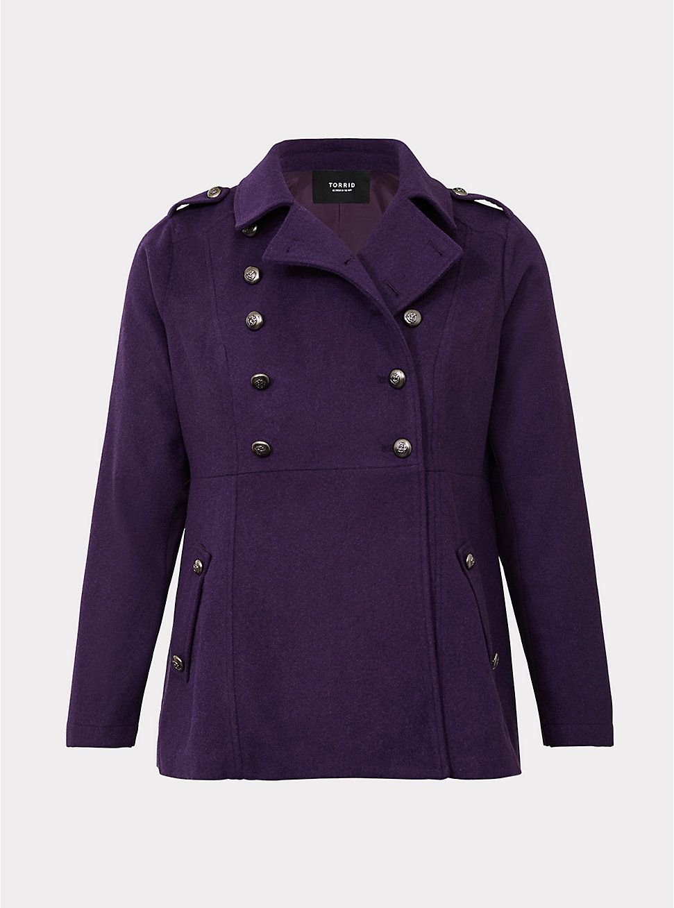 00182cac1aa Plus Size Purple Double Breasted Military Coat