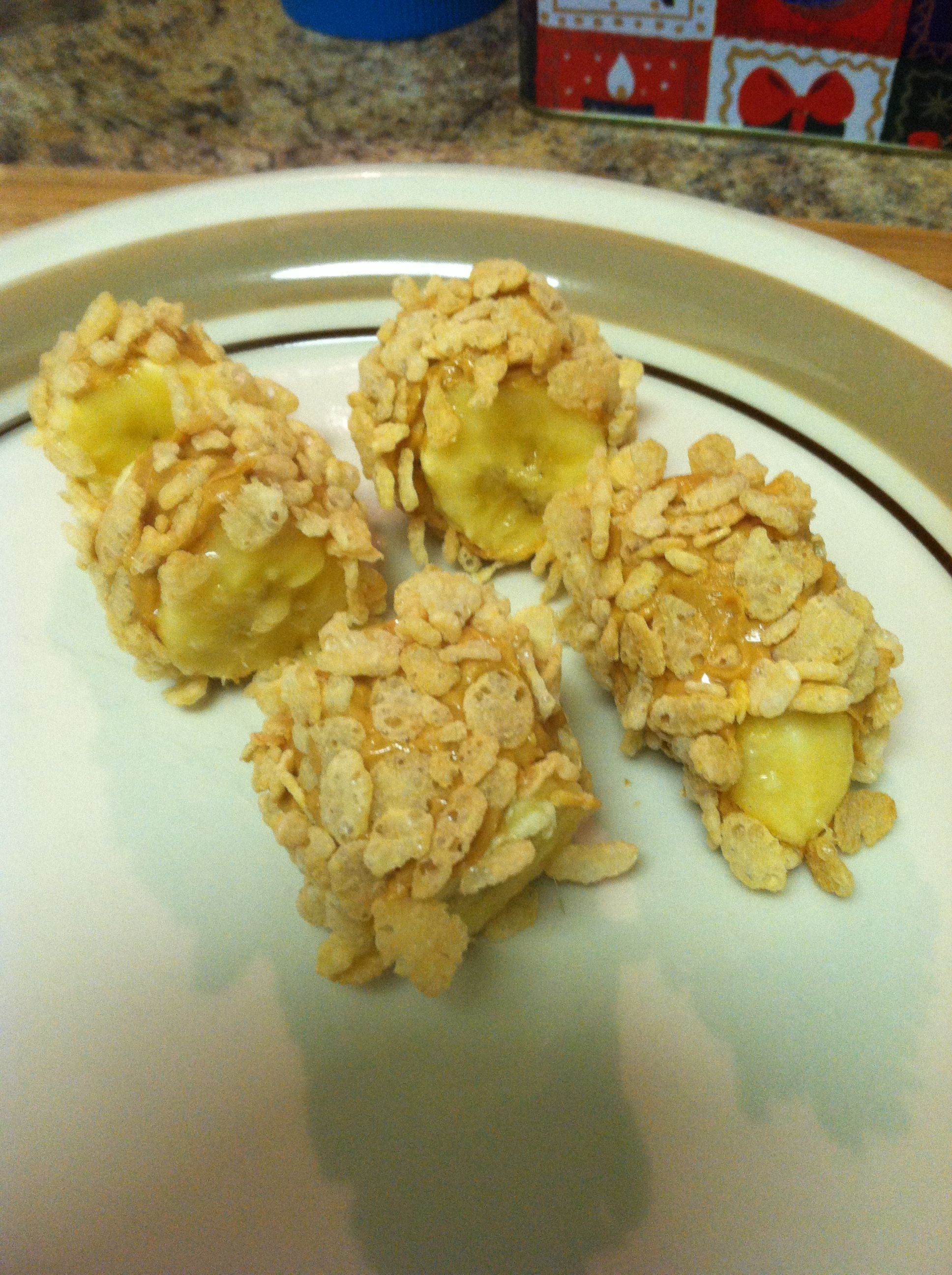 Breakfast Sushi! One of my Pins I brought to life ;)   Banana rolled in Peanut Butter, then Rice Krispie's
