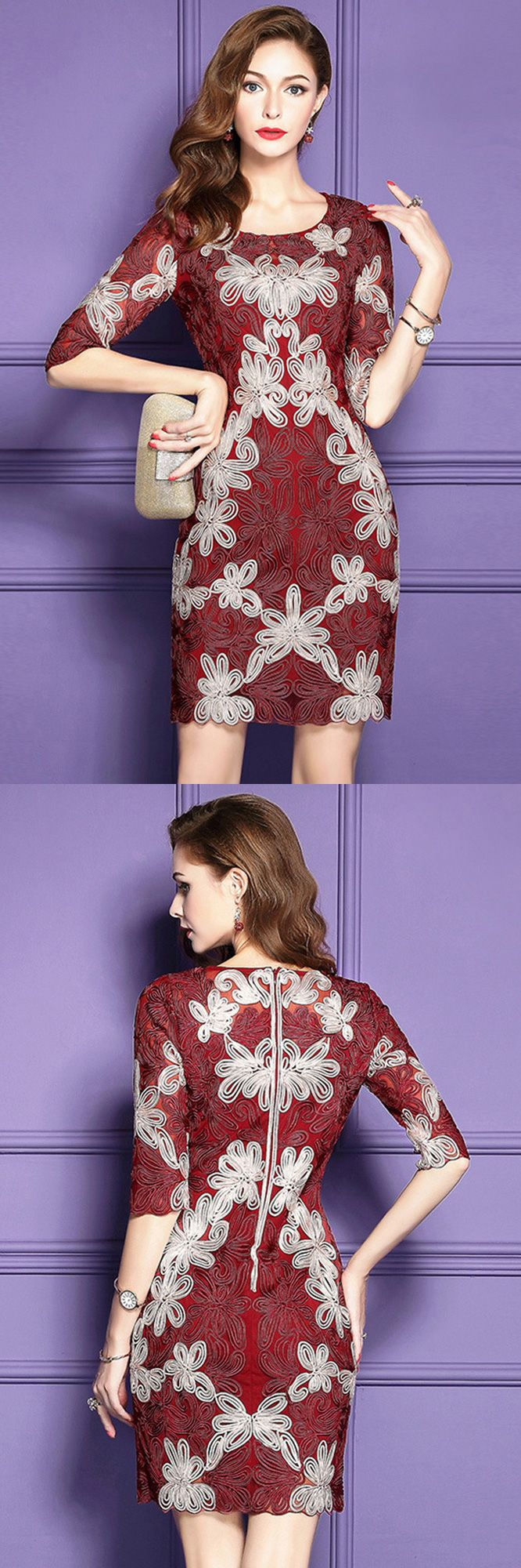Dresses to wear to a wedding as a guest over 50  Embroidered Pattern Cocktail Dresses For Women Over  With High