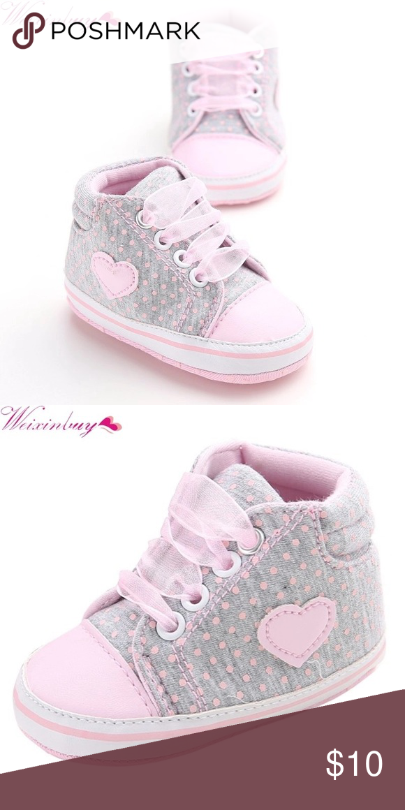 Grey Pink Infant Shoes Fun And Comfy Polka Dots And Heart Tennis Shoes Shoes Baby Walker Baby Shoes Shoes Baby Pink