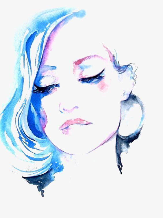 Aquarela O Rosto De Uma Mulher Azul De Temperamento Arquivo