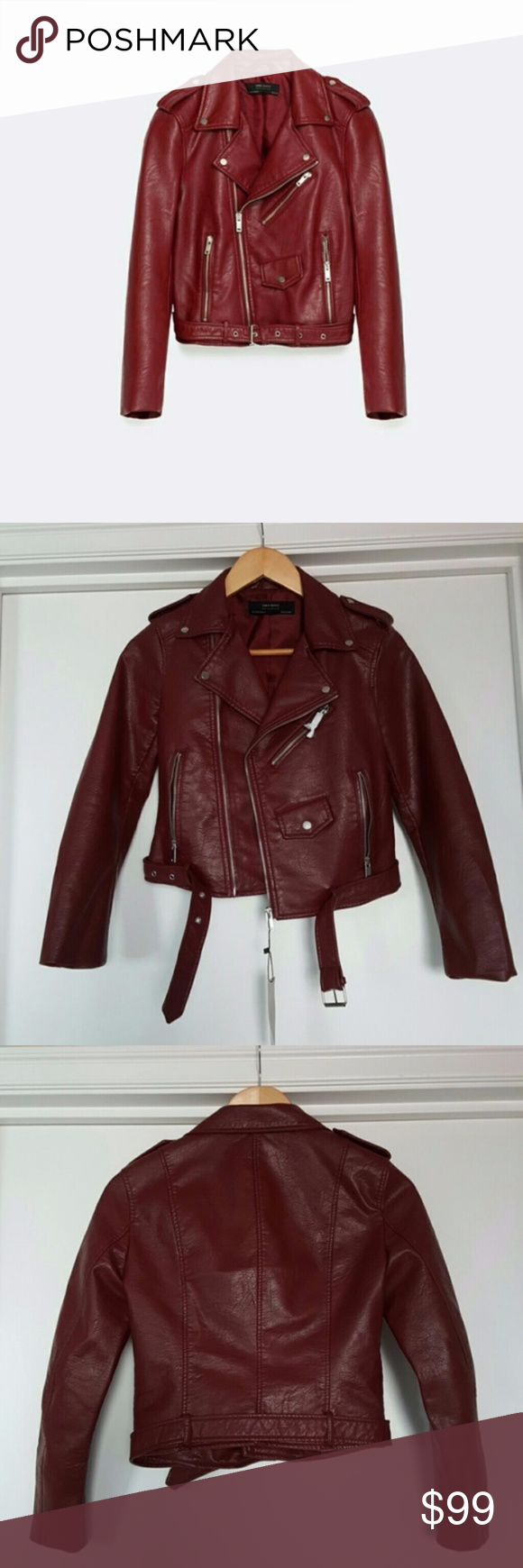 Zara Burgundy Red Leather Effect Jacket Leather fashion