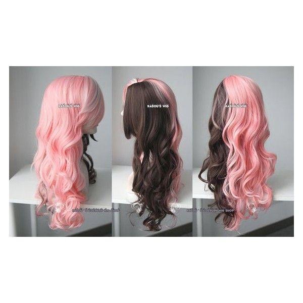 Rwby Neo Pink Brown Split Body Wave Cosplay Wig 70cm Long