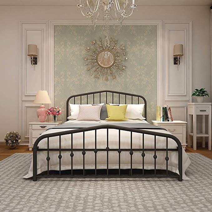 Metal Bed Frame Queen Size Platform No Box