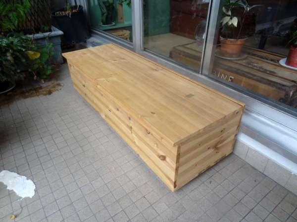 fabriquer un banc coffre diy pinterest banc coffre bancs et terrasses. Black Bedroom Furniture Sets. Home Design Ideas
