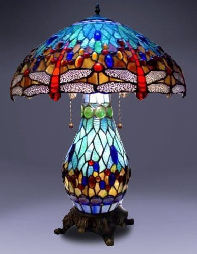 Blue Dragonfly Night Light Tiffany Style Table Lamp By Universal Lighting And Decor Htt Tiffany Style Lamp Stained Glass Table Lamps Tiffany Style Table Lamps