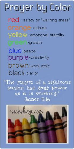 Prayer by Color Free printable bookmark that can be used as a