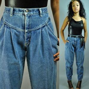 80s Super High Waist Jeans Zena Harem Jeans W Distressed Stone Wash Pleated 80s Fashion Zena Jeans 1980s Fashion