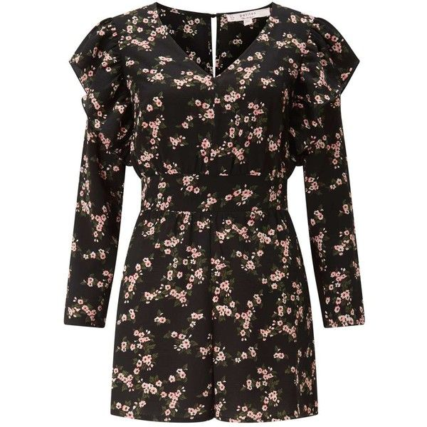 9ac16c0838 Miss Selfridge PETITE Floral Ruffle Playsuit (€57) ❤ liked on Polyvore  featuring jumpsuits
