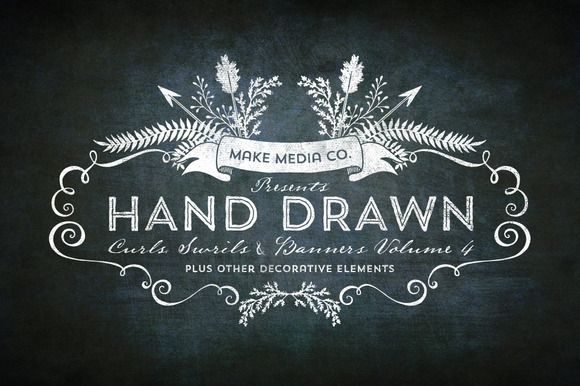 Check out Hand Drawn Curls & Banners Vol. 4 by MakeMediaCo. on Creative Market http://crtv.mk/bUOX