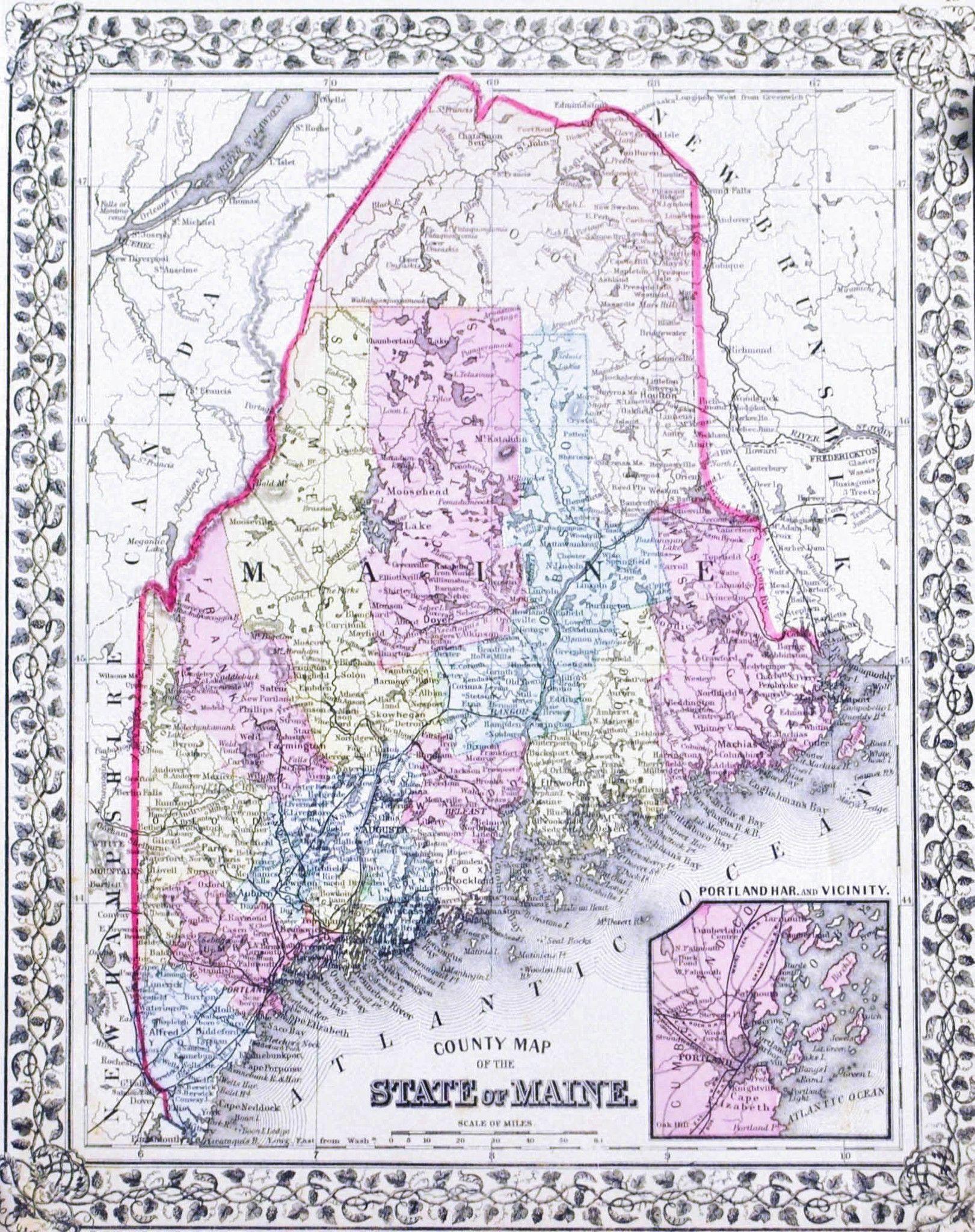 Maine United States Antique Mitchell Map 1881