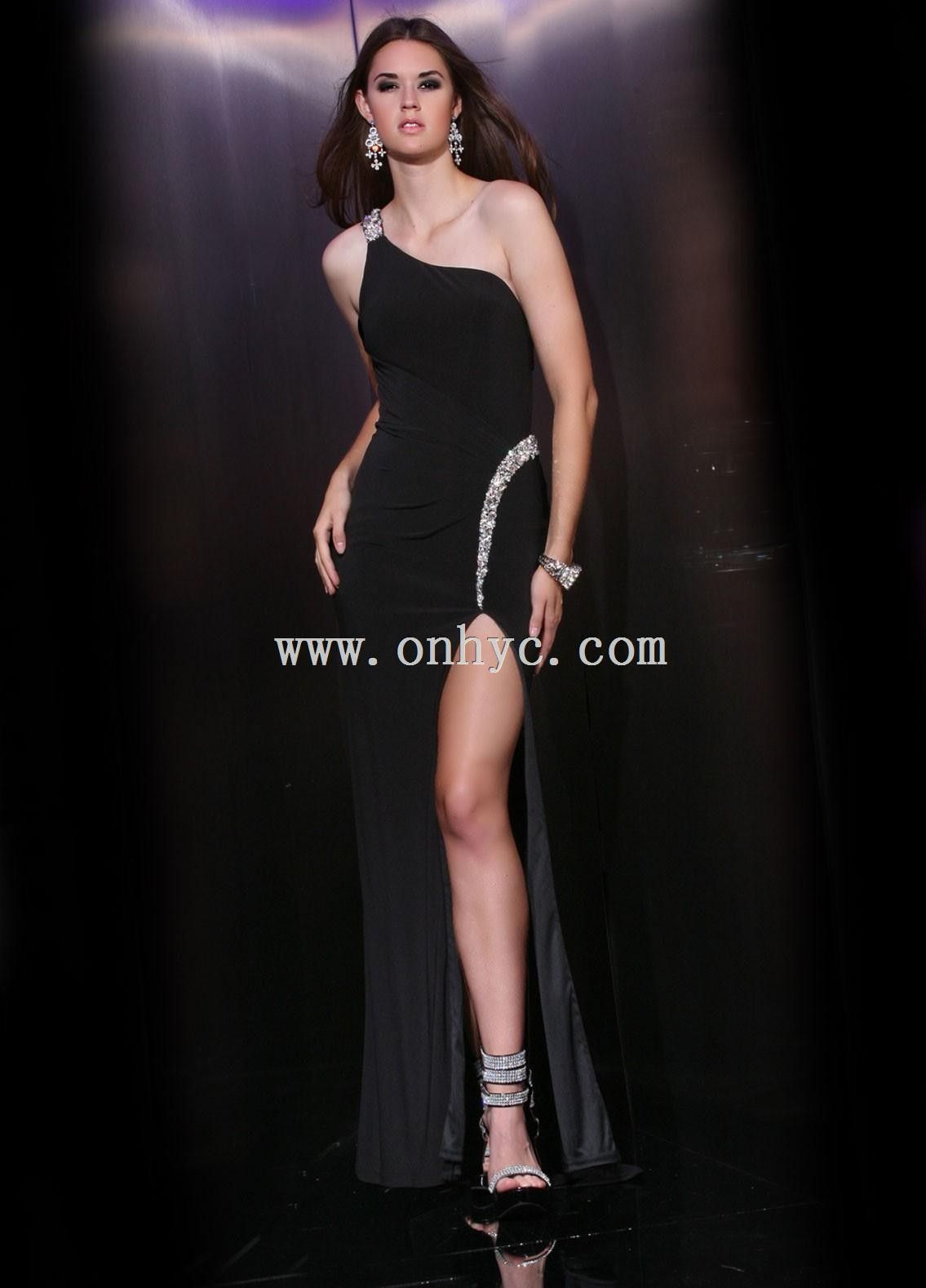 One shoulder floor length black chiffon sheath column prom dress