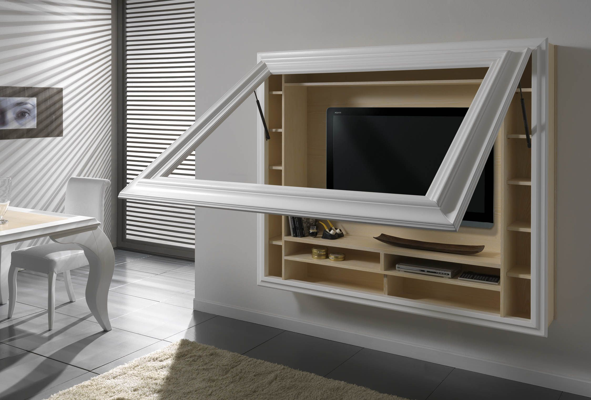 Porta tv sospeso con cornice apribile Tv a muro, Porta