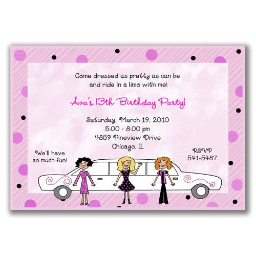 Limo girls invitations for girls birthday party party ideas limo girls invitations for girls birthday party stopboris Images