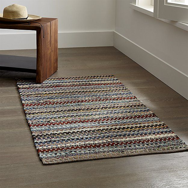 Pinstripe Grey Cotton Rag Rug | Crate and Barrel | Rugs ...