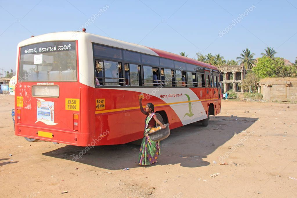 India Hampi 02 February 2018 A School Indian Bus Is On The Bu