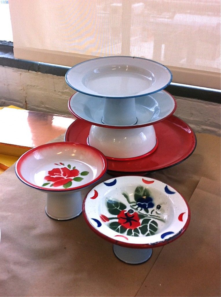 DIY cake stands made from enamelware plates, bowls and cups.