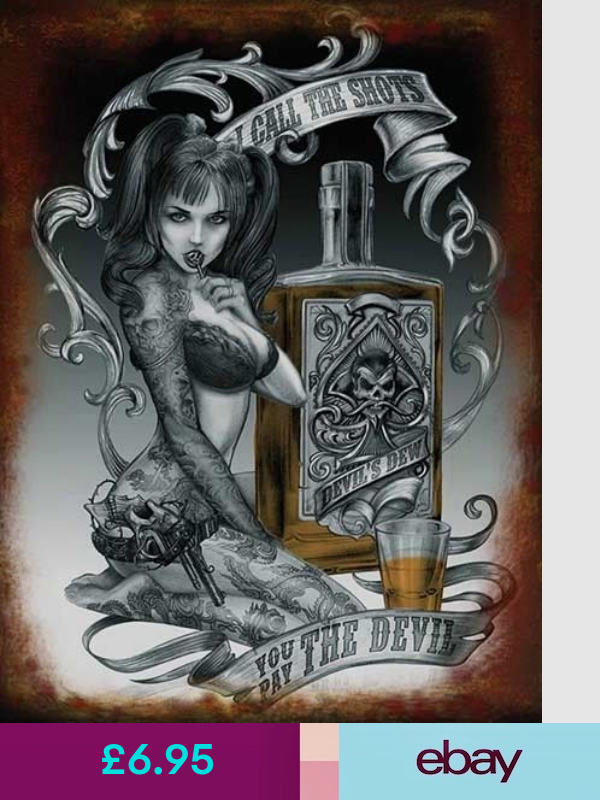 ALCHEMY GOTH DEVILS DEW LIQUOR DARK GOTHIC TEMPTRESS TATTOO LADY METAL WALL SIGN