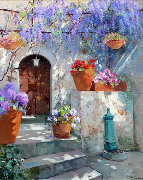 Standing Pots And Hanging Pots And Trellises Everywhere. That's The Kind Of Terrace, That Makes Me Stop And Stare~ C.C.Crystal~ Artist: Maria Serafina