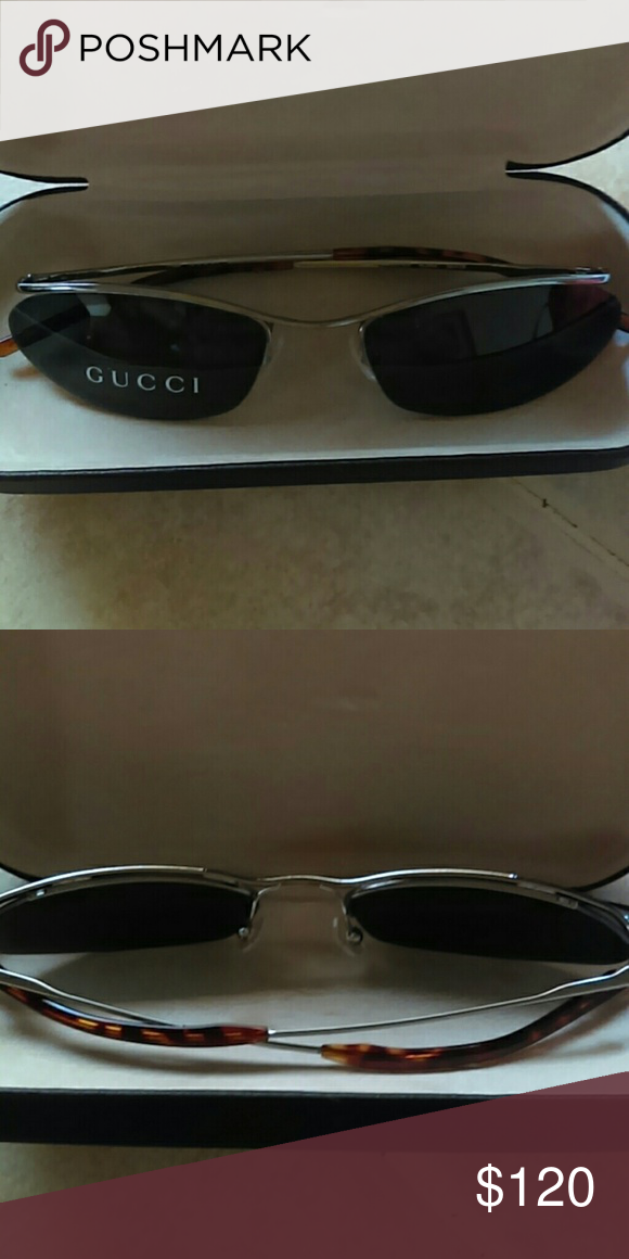 175b7740962 FLASH SALE! Authentic Gucci sunglasses Cat eye type shape with  tortoiseshell ear pieces. Very thin and sleek. Never worn. Made in Italy.