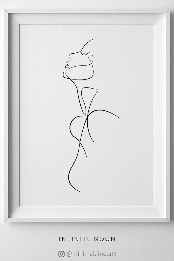 Dibujo de línea caras Mujer Minimalista Pared Arte enmarcado impresión 12X16 en