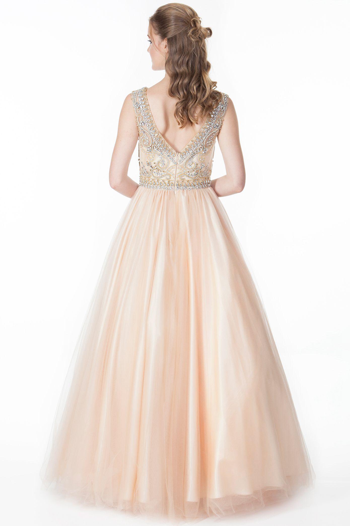 Aline floorlength scoopneck beaded sleeveless tulleusatin prom