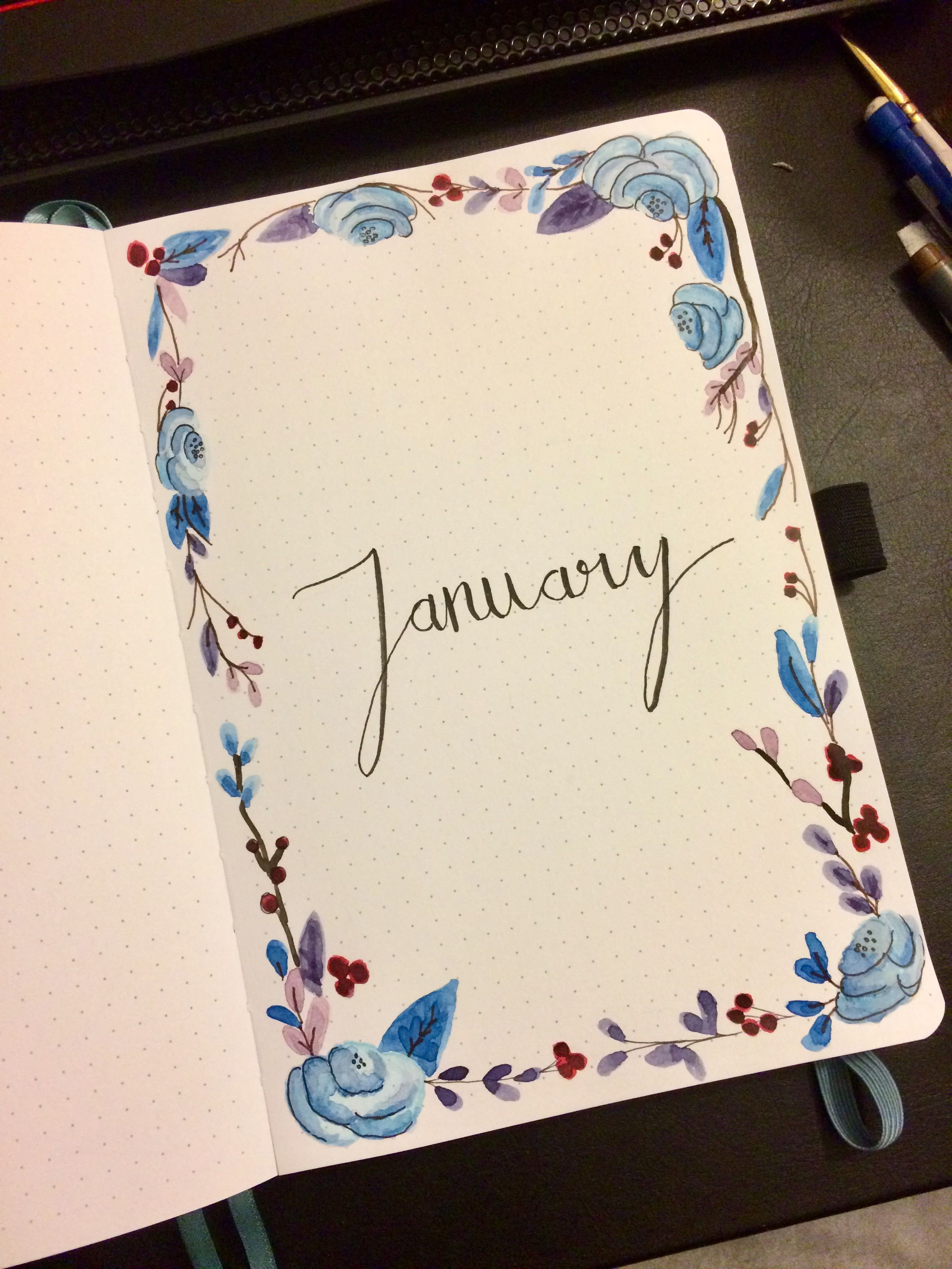 January Cover Page For The Bullet Journal Winter Flowers Leaves